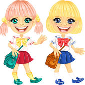 Vector smiling blonde cute schoolgirls — Stockvektor