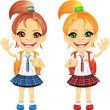 Vector smiling chestnut and redhead cute schoolgirls — Stock Vector #18800907