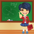 Vector smiling schoolgirl near blackboard — Stock Vector