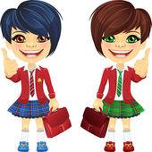 Vector smiling chestnut and redhead cute schoolgirls — Stock Vector