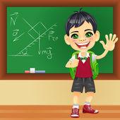 Vector smiling schoolboy near blackboard — Stock Vector