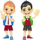 Vettore sorridente studentesse carini castagno e rossa — Vettoriale Stock