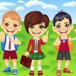 Vector smiling schoolchildren boys and girl — Stock Vector