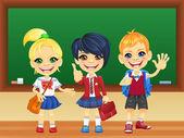 Vector smiling schoolchildren near blackboard — Stock Vector