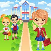 Vector happy smiling schoolchildren girls and boy — Stock Vector