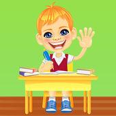 Vector happy smiling schoolboy — Stock Vector