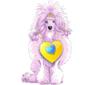 Vector pink Poodle dog with gold heart — Stock Vector
