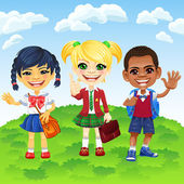 Vector smiling schoolchildren of different nationalities — Vettoriale Stock