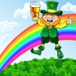 Vector St. Patrick's Day leprechaun with a glass of beer — Stock Vector