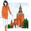 Stock Vector: Vector sketch of lovely fashion girl in Moscow