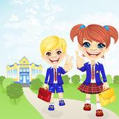 Vector happy schoolgirl and schoolboy near school — Stock Vector