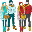 Stock Vector: Vector fashion stylish guy and girl in warm clothes