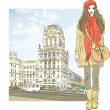 Vector sketch of a stylish girl in the city-center - Stock Vector