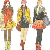 Vector fashion stylish girls in warm clothes — Stock Vector