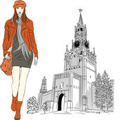 Vector sketch of the lovely fashion girl in Moscow — 图库矢量图片