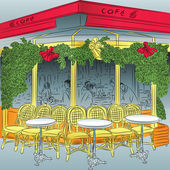 Vector sketch of the Parisian cafe — Vettoriale Stock