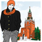 Vector sketch of the stylish guy in Moscow — Stock Vector