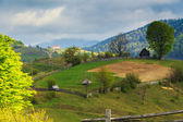 Spring rural landscape in the Carpathian mountains — Stock Photo