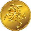Stock Vector: Vector gold money coin with of charging knight on horseback