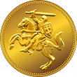 Stock Vector: Vector gold money coin with of the charging knight on horseback