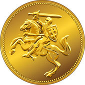 Vector gold money coin with of the charging knight on horseback — Stock Vector
