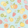 Vector seamless pattern with fruits and berries — Stock Vector