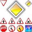 Vector set of road signs priority — Stock Vector