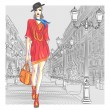 Vector attractive fashion girl goes for St. Petersburg — Stock Vector #28258369