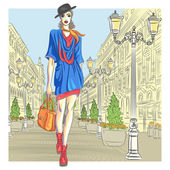 Vector attractive fashion girl goes for St. Petersburg — Stock Vector