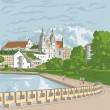Stock Vector: Vector sketch of old town, cityscape with church and river