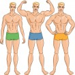 Vector set of young athletic guys in shorts — Stock Vector
