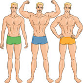 Vector set of young athletic guys in shorts — Vecteur