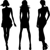 Vector silhouette of fashion girls top models — Stock Vector