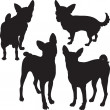 Vector silhouettes of dogs in the rack — Stock Vector