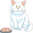 Vector hungry cute white cat with empty bowl — Stock Vector