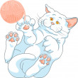 Vector cute white cat playing with a ball of yarn — Stock Vector #33814751