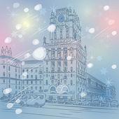 Vector Christmas winter cityscape of a city-center — Stock Vector