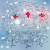 Vector Christmas winter sketch of the Parisian cafe — Stock Vector