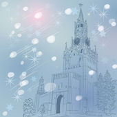 Vector winter Christmas cityscape of the Moscow Kremlin, Russia — 图库矢量图片