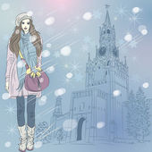 Vector Christmas winter cityscape with fashion girl in Moscow — Stock Vector