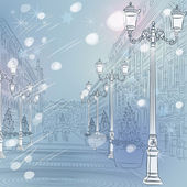 Vector winter Christmas Cityscape, avenue with vintage buildings — Stock Vector