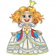 Vector cartoon funny princess with a golden crown — Stock vektor
