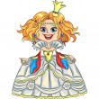 Vector cartoon funny princess with a golden crown — Image vectorielle