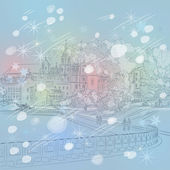 Vector winter Christmas cityscape with church and river — Stock Vector