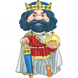 Vector cartoon king with a golden crown — Stock Vector