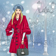 Vector beautiful fashionable girl on the Christmas Cityscape — Stock Vector #34958761