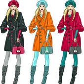 Vector beautiful fashion girls top models — Stock Vector