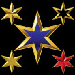 Vector set of golden shiny six-pointed stars — Stock Vector