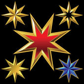 Vector set of golden shiny eight-pointed stars — Stock vektor