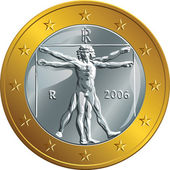 Vector Italian money gold coin one euro (Vitruvian Man) — Stock Vector
